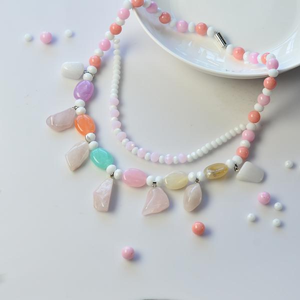 final look of the handmade gemstone bead and jade beaded necklace