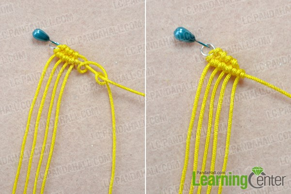 Start to make the macramé spiral earrings