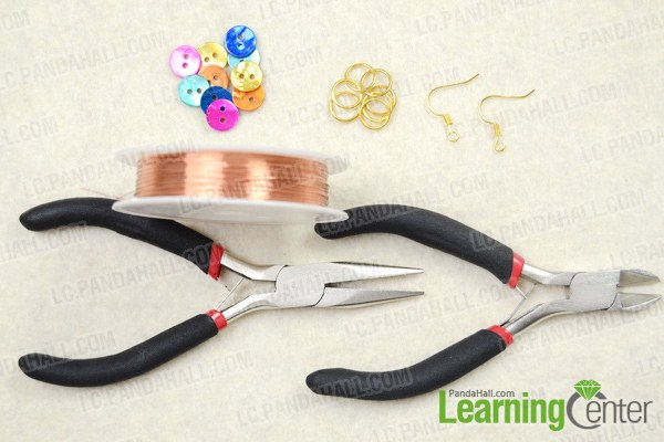 Materials on how to make dangle button earrings