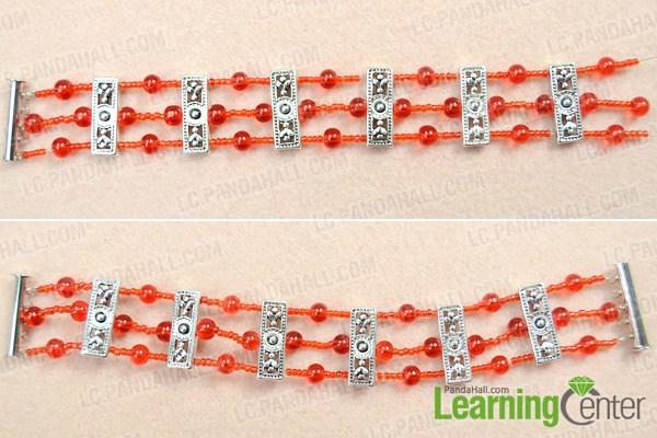 Make basic red cuff bracelet pattern