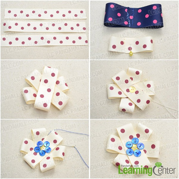 Step 2: Make inner ivory ribbon flower