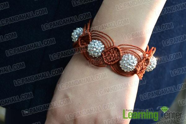 finished macrame bracelet with beads