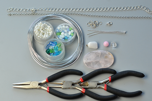 Materials and tools needed for mix beaded pendant chain necklace: