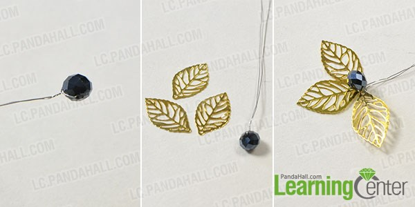 Combine the leaves and black glass bead to make a flower pattern