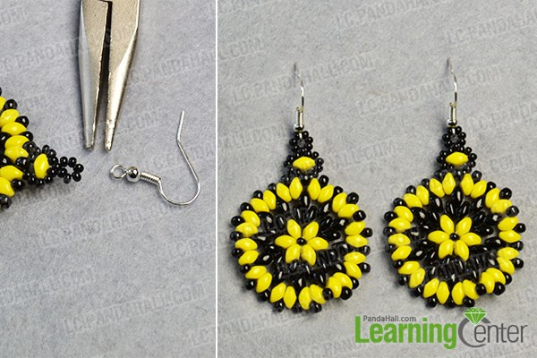 finish the flower beads earrings