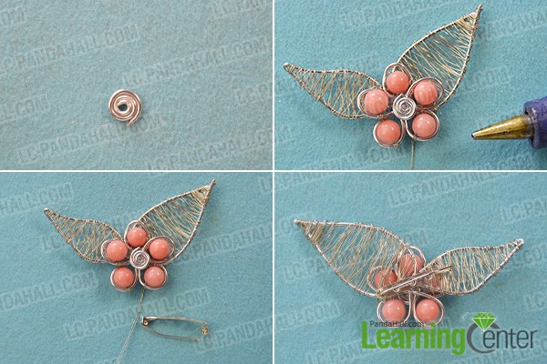 Wire Wrapped Flower Art Brooch Pin with Beads Tutorial 6