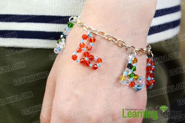 finished beaded heart charm bracelet