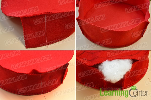 Step 2: Stuff the felt pillow with cotton