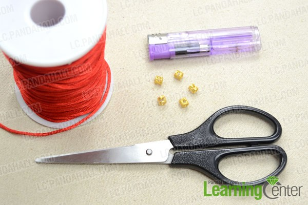 Supplies needed in the beads and thread bracelet