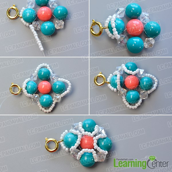 Decorate the turquoise bead pattern with white seed beads