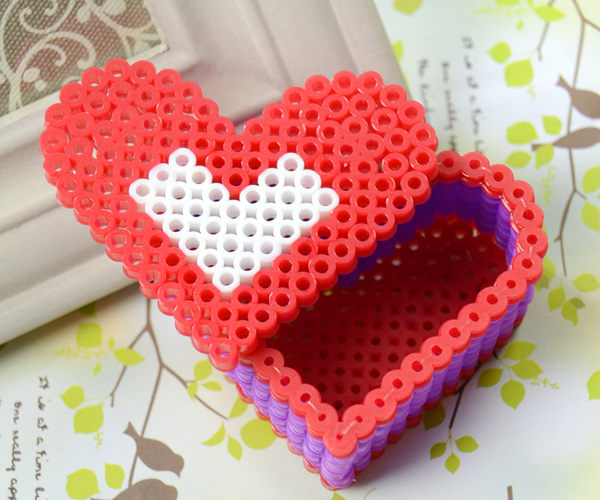 3d perler bead pattern how to make a perler bead red heart box perler bead box pattern
