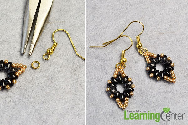 Finish the seed bead dangle earrings