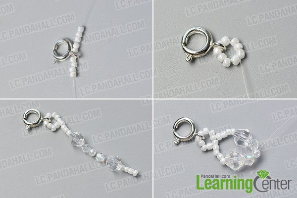 make the first part of the crystal glass bead bracelet