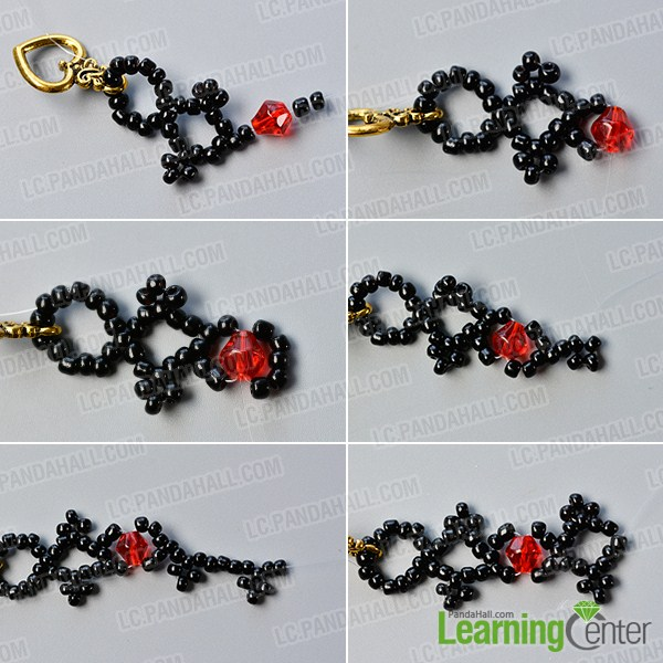 make the second part of the black seed bead bracelet