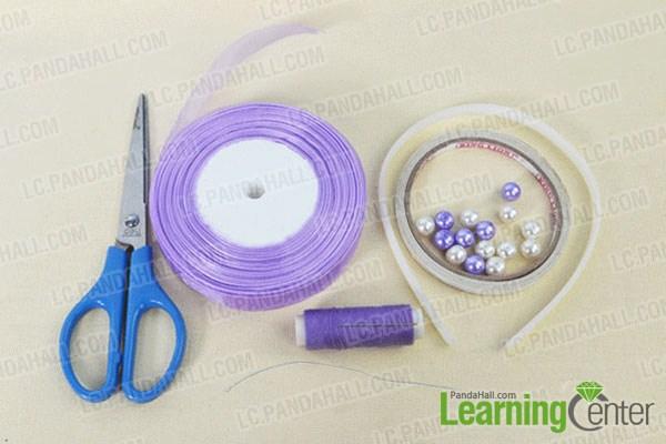 materials needed in DIY a purple ribbon hairclip