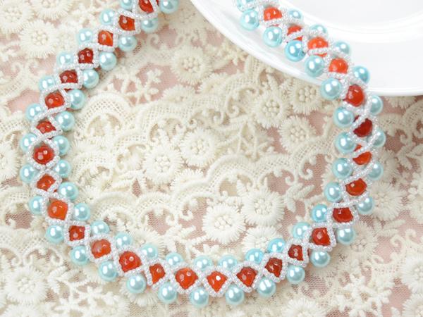 light cyan bead weaving necklace patterns