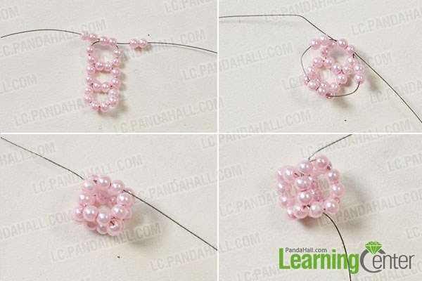 Make the second part of the gorgeous flower pearl bracelet