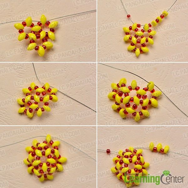 make the second part of the yellow seed bead ball earring