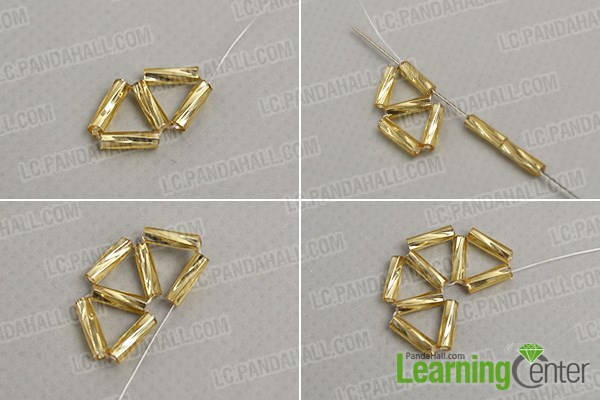How to make a golden chain beaded ball pendant necklace pandahall continue to make more triangle patterns aloadofball Choice Image