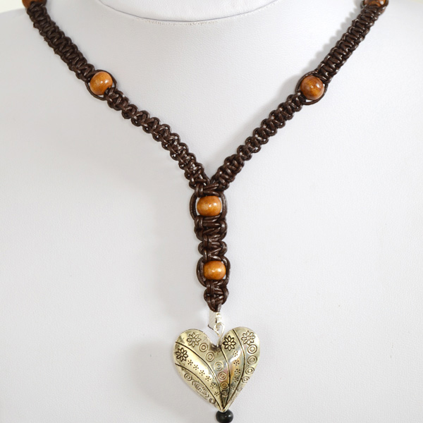 the final look of Braided Brown Leather and Bead Necklace for Men