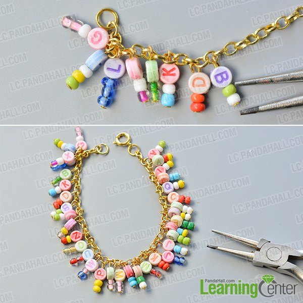 make the second part of the chain and alphabet letter beads bracelet