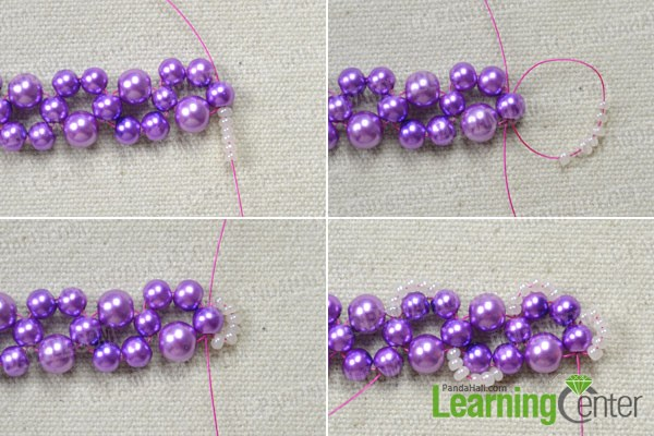 Add the lace for your own beautiful purple bead necklace