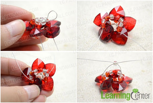 how to complete the beaded flower pendant