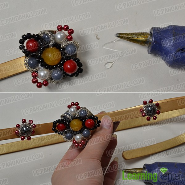 attach the bead flowers onto a recycled belt