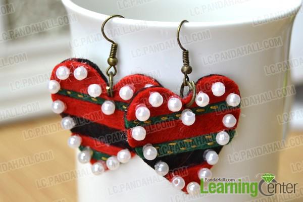 finished felt heart shaped earrings