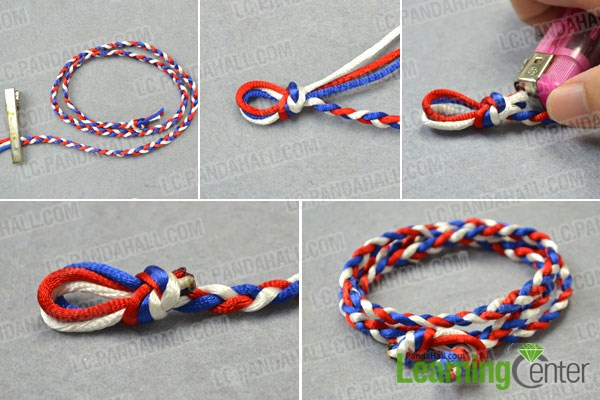 Braid the DIY wrapped cord bracelet