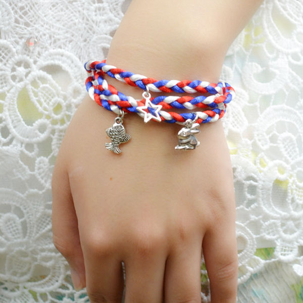 the final look of DIY wrapped cord bracelet