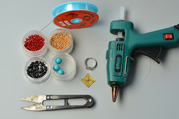Materials and tools needed for flower turquoise and seed beads ring:
