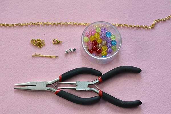 Supplies you'll need in making the glass beaded chain bracelet
