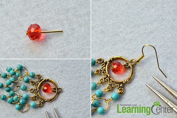 Finish the beaded chandelier earrings