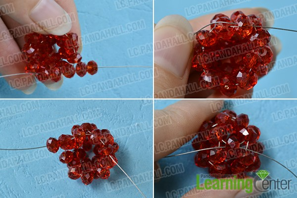 Finish the red glass beaded Christmas ball