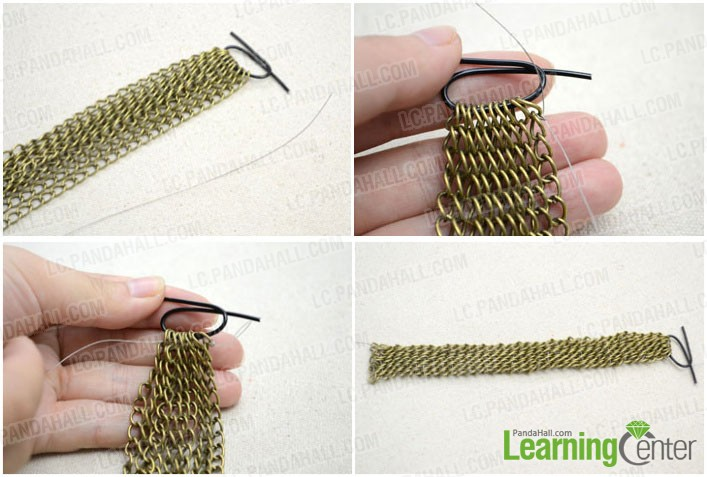 thread the wire in a zigzag pattern to string the chain