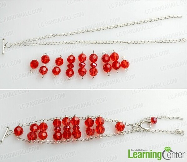add glass beads onto chain