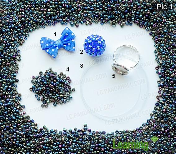 Material for making beaded flower charm ring