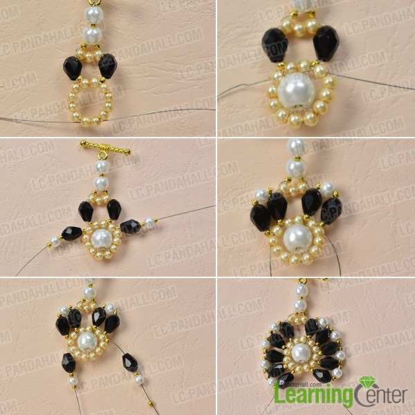 make the second part of the black and white beaded flower bracelet