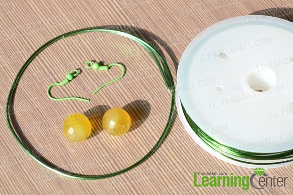 aluminum wire,brass wire, glass beads and earring hooks for you to make earrings