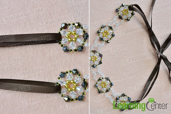 Finish the beaded flower necklace