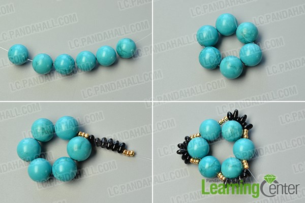 make the first part of the flower beads ring