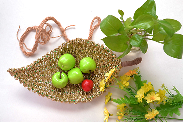 final look of the gold PU leather cord wrapped leaf fruit bowl