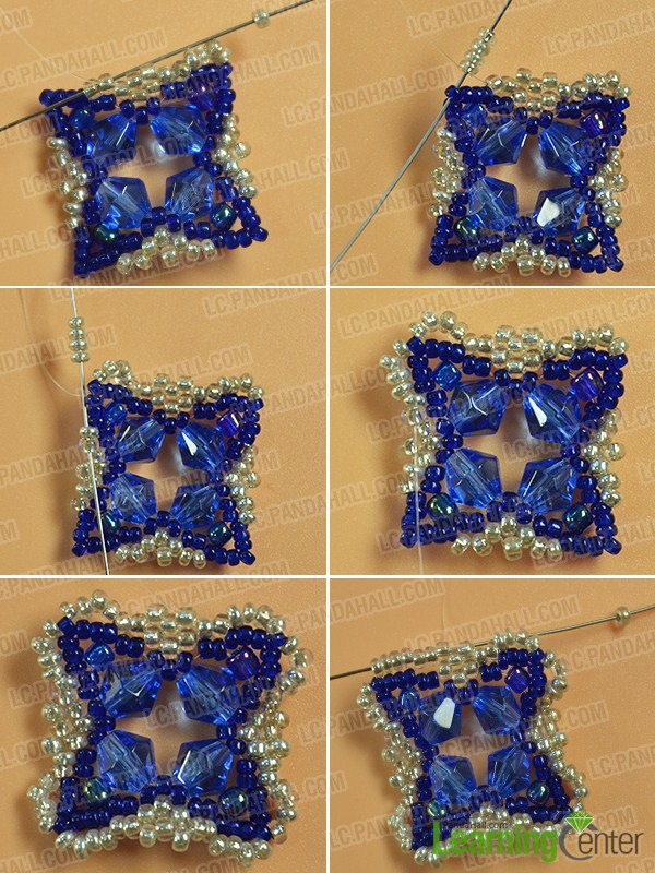 make the sixth part of the blue glass and seed bead bracelet