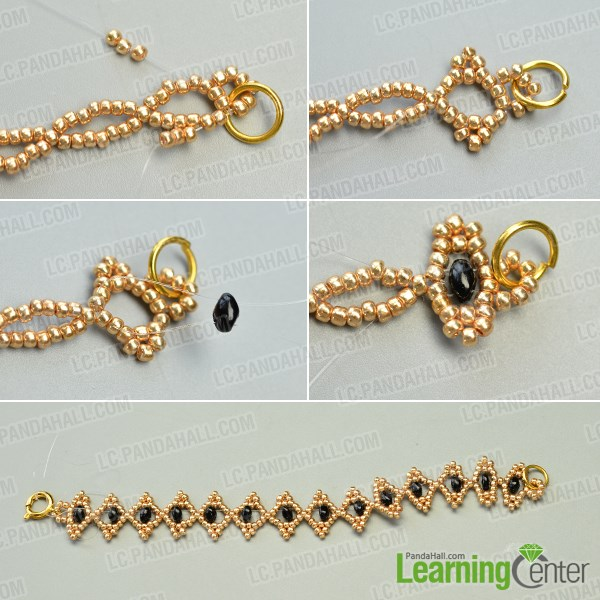 Finish the main part of the DIY seed bead bracelet