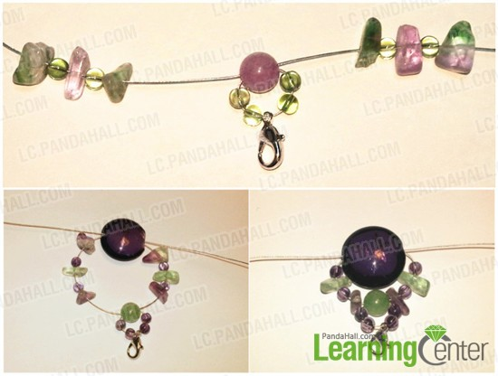 Adding fluorite beads and glass beads alternately