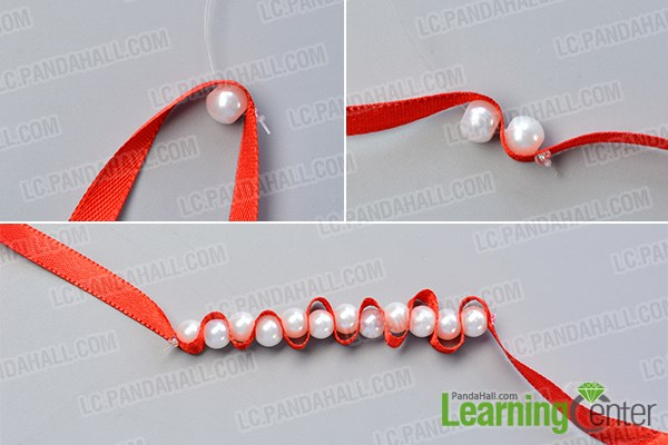 Make the basic part of the Christmas pearl dangle earrings