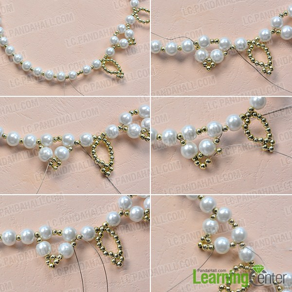 make the third part of the homemade white pearl bead necklace