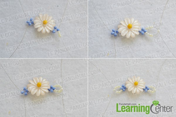 Step 2: make basic daisy beaded flower bracelet pattern 2