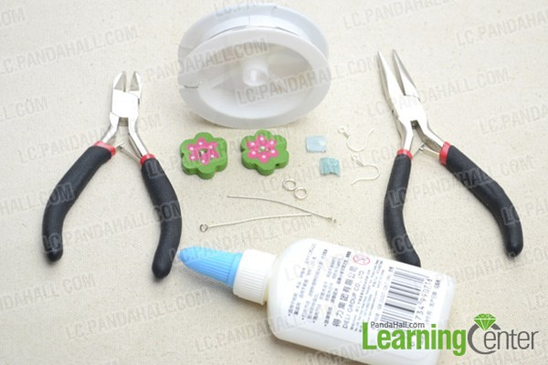 supplies for DIY wood button earrings